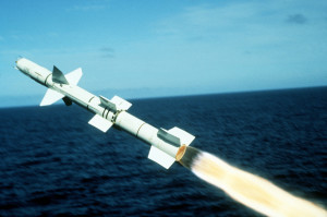 A view of a Talos surface-to-air guided missile, moments afterbeing launched from the starboard side of the guided missile cruiser USS OKLAHOMA CITY (CG 5) at the Pacific Missile Test Range.  This is the final firing of the Talos missile by the United States Navy.  (Second view in a series of five)